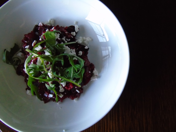 Beetroot Risotto with Goat's Cheese. Photo by Samantha Litte