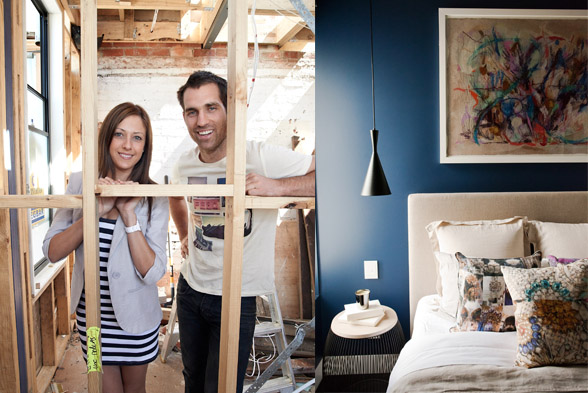 Danielle Wales and partner Dan on the set of The Block 2012 - Image Credit Tina Smigeilski, The Block 2012 - Guest Bedroom - Image Credit Elizabeth Allnutt